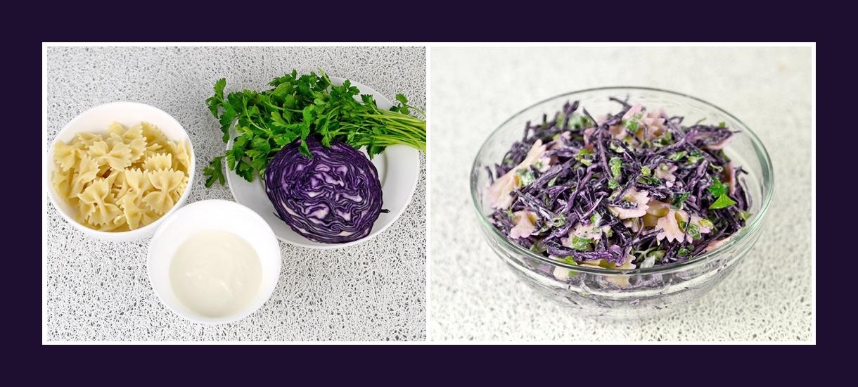 Einfaches Rezept für Salat aus Nudeln, rotem Kohl, Petersilie und Schmand