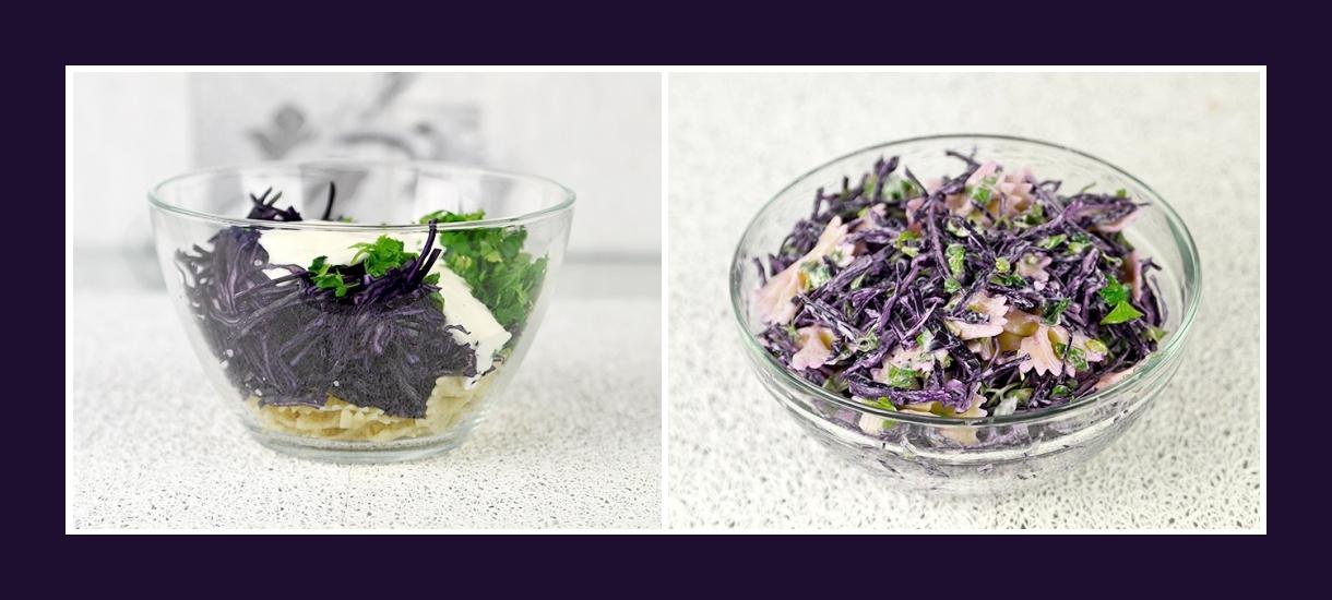 Leichter Salat mit Nudeln, Petersilie, rotem Kohl und Soße aus Schmand