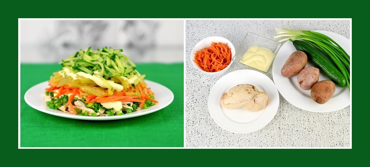 Kartoffelsalat mit Karotten in Koreanisch, Schnittlauch, Gurke, Hähnchen, Mayonnaise