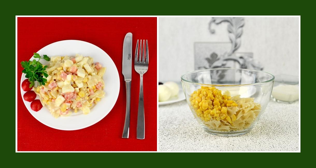Nudelsalat mit konservierten Maiskörnern