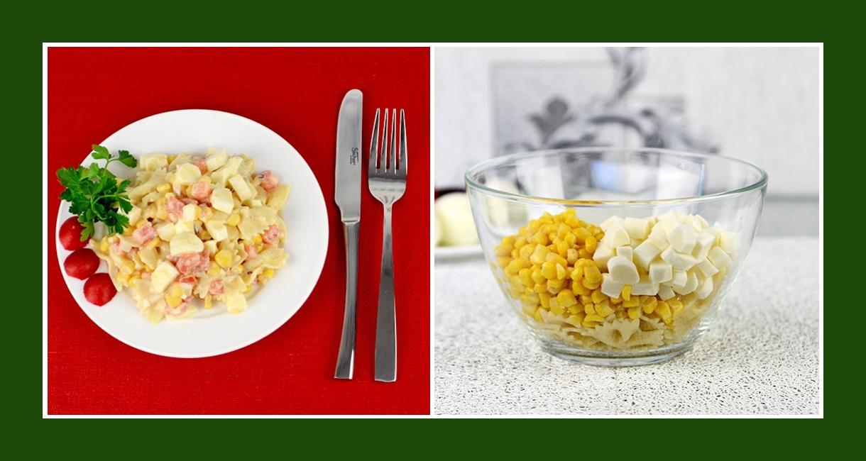 Nudelsalat mit Mais und Suluguni Käse