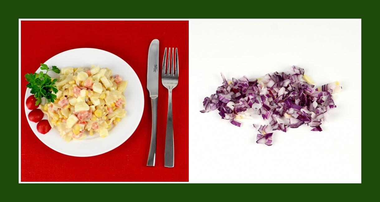 Nudelsalat mit roten Zwiebeln