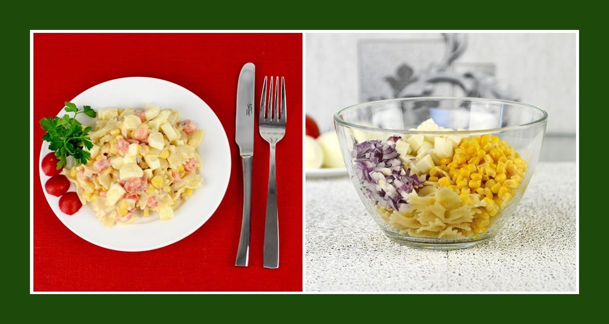 Nudelsalat mit Mais, roten Zwiebeln und Salzlakenkäse