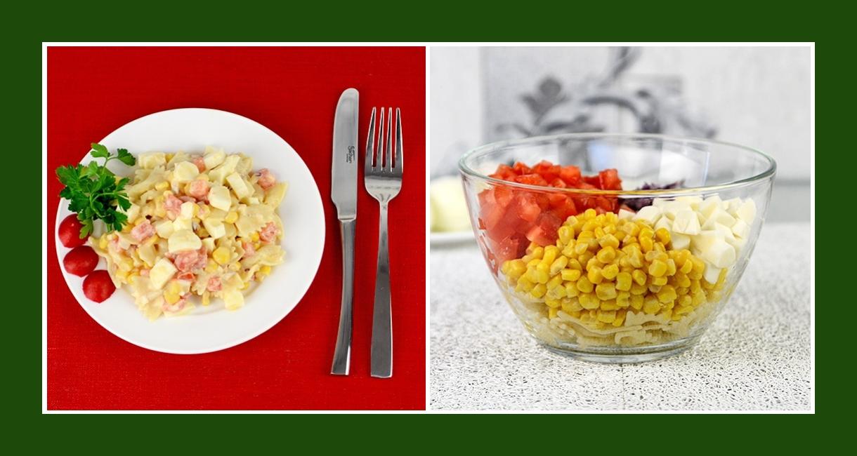 Nudelsalat mit Tomaten, Mais, Zwiebeln, Salzlakenkäse