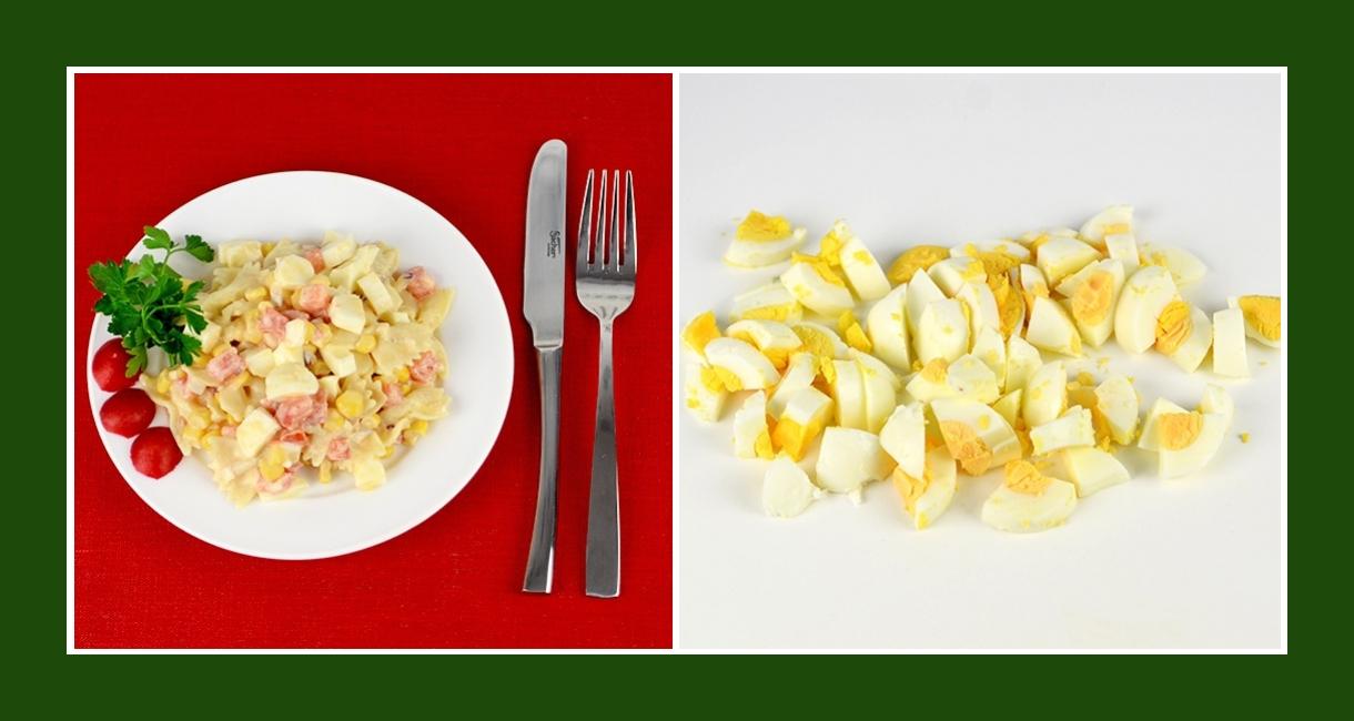 Zarter Salat aus Nudeln und Eiern