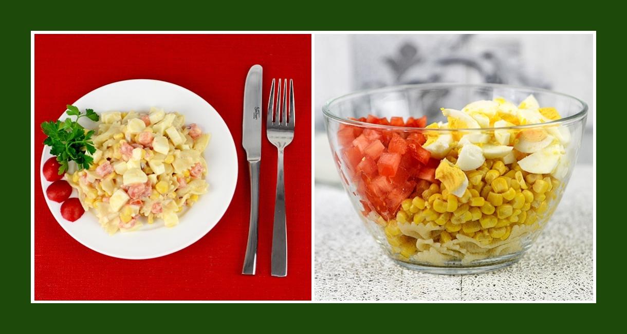 Nudelsalat mit Tomaten, Mais, Eiern,  Zwiebeln, Salzlakenkäse