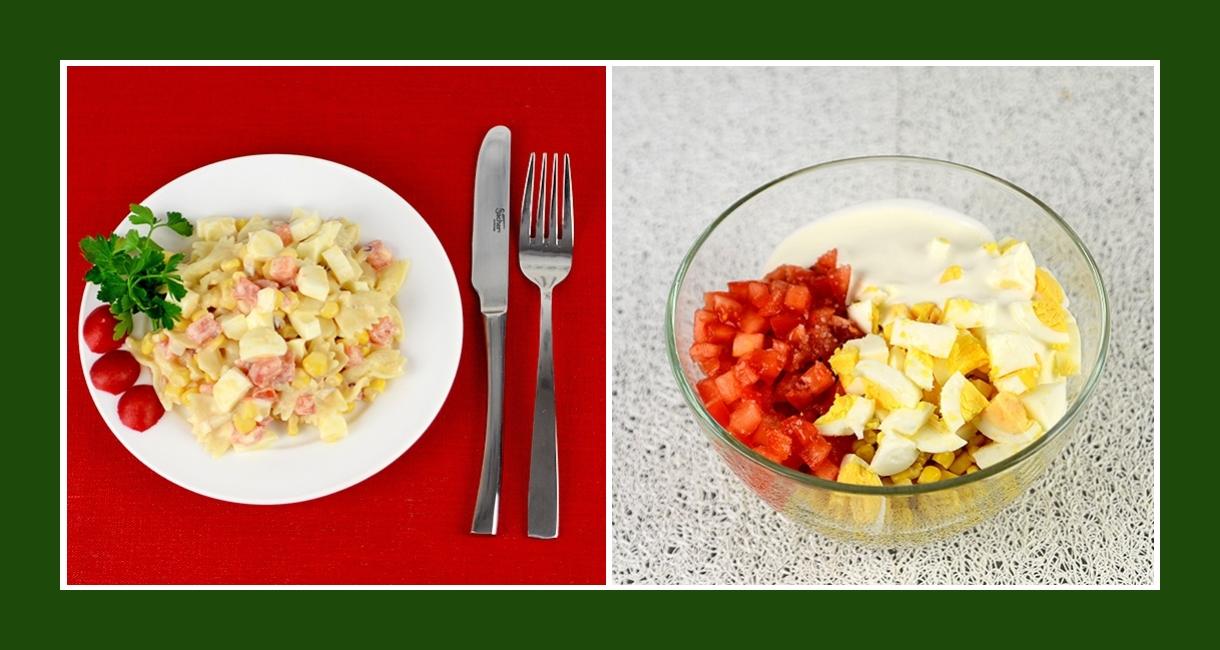 Zarter Nudelsalat mit Gemüse, Eiern, Käse und Schmand Dressing
