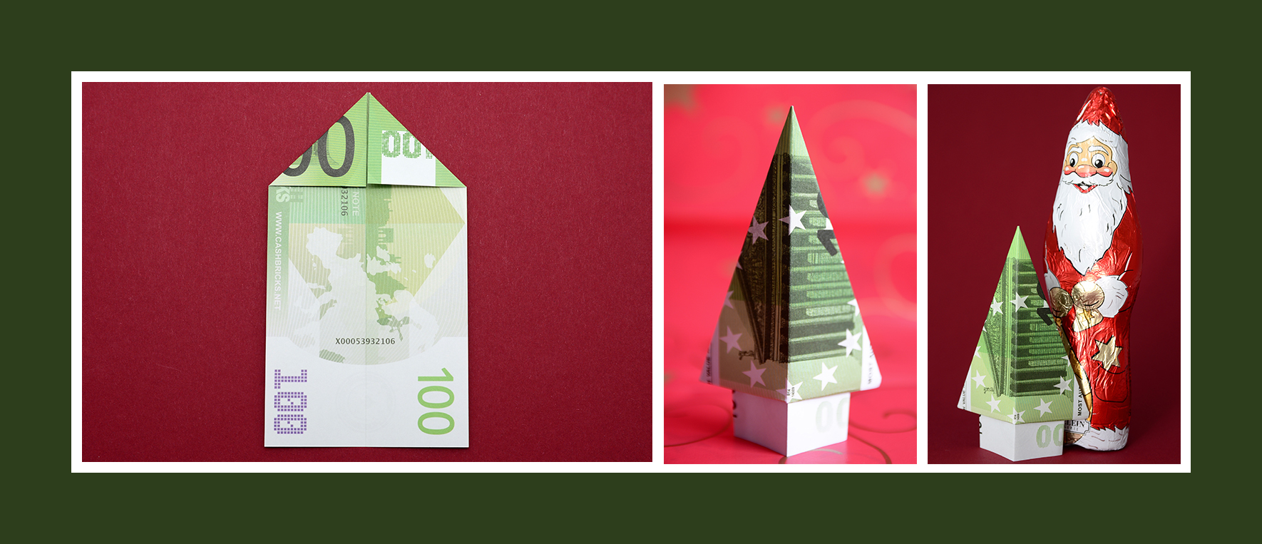 Geldscheine falten Anleitung Weihnachtsbaum