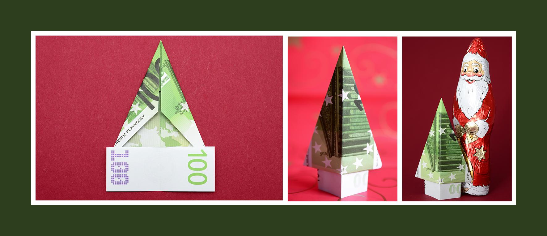 Geldschein falten  Weihnachtsbaum