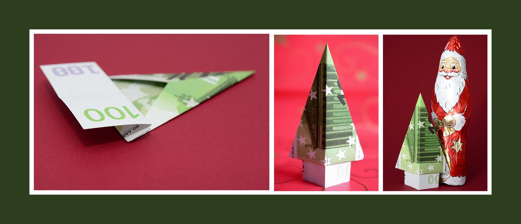 Geldschein falten Tannenbaum