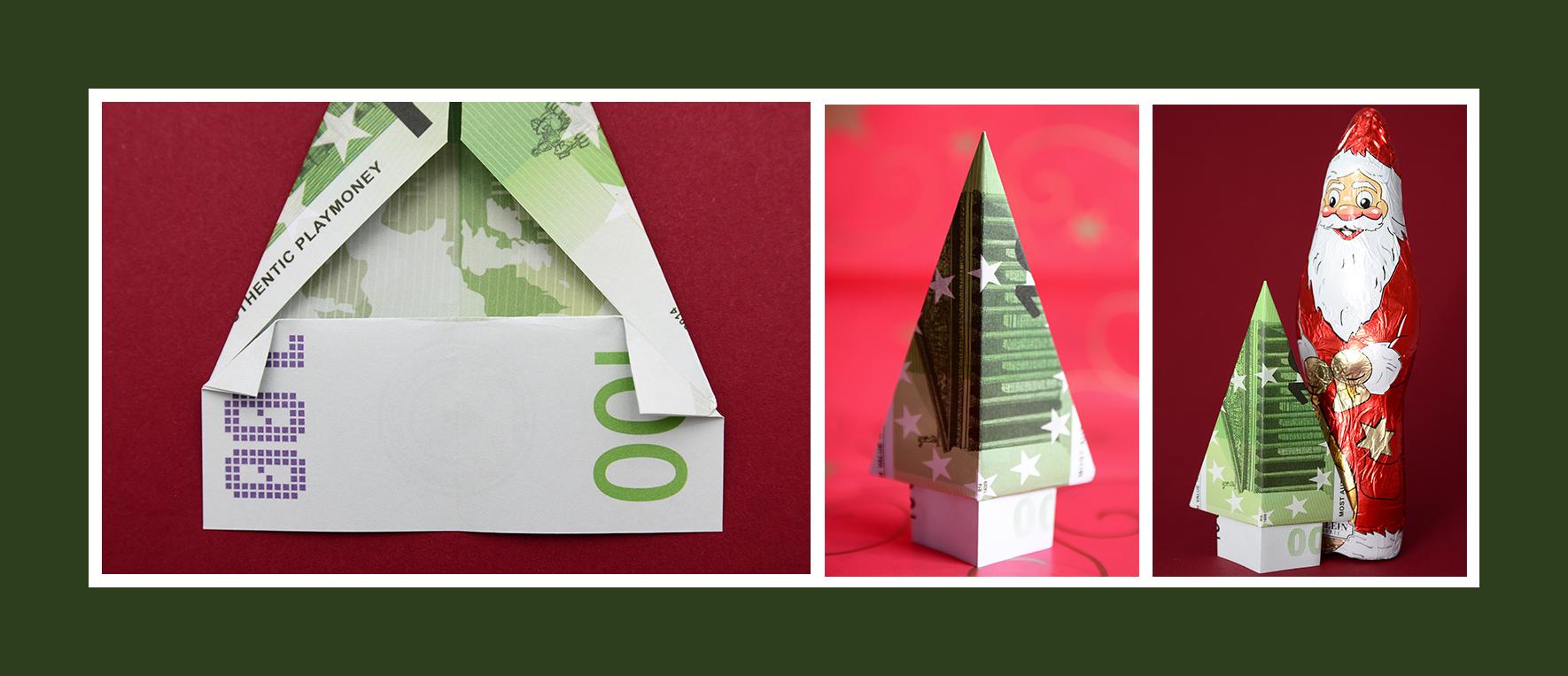 Geldschein falten Weinachten 100 Euro