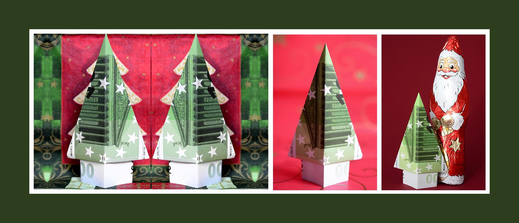 Geldscheine falten Anleitung Weihnachtsbaum Tannenbaum
