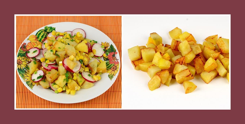 Leckerer Salat mit Bratkartoffeln