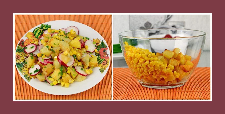 Salat mit süßem Mais und leckeren Bratkartoffeln