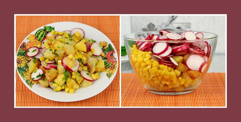 Salat mit Radieschen, Mais und Bratkartoffeln