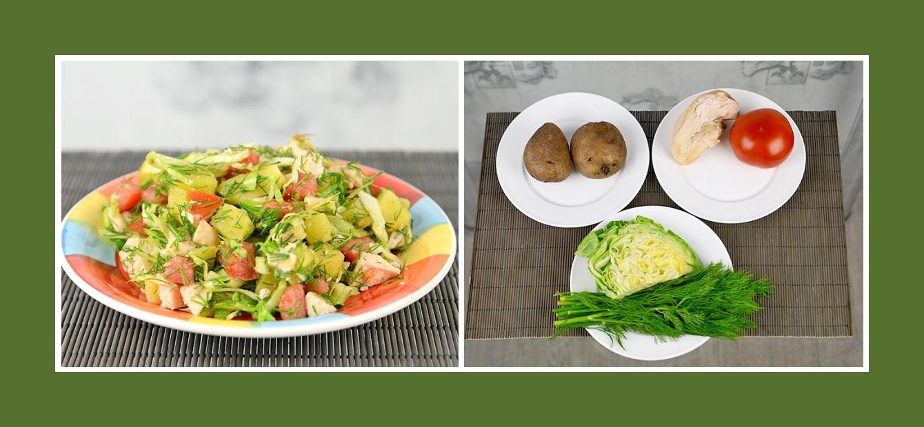Zarter Kartoffelsalat mit nahrhaftem Hähnchenfilet, saftigen Tomaten, Frühkraut und Dill