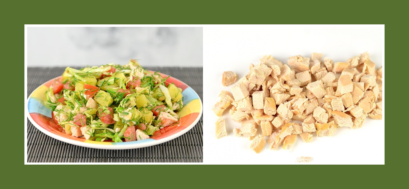 Kartoffelsalat mit zartem Hähnchen oder Putenfilet
