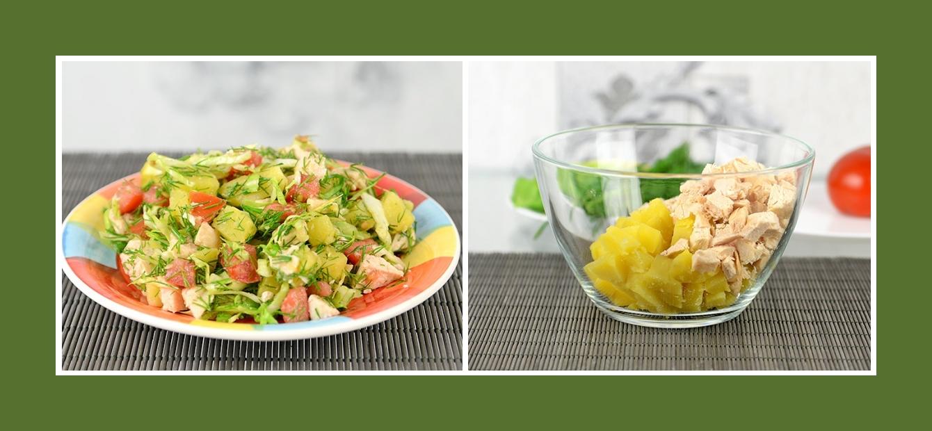 Salat aus Kochkartoffeln und Hähnchenfleisch