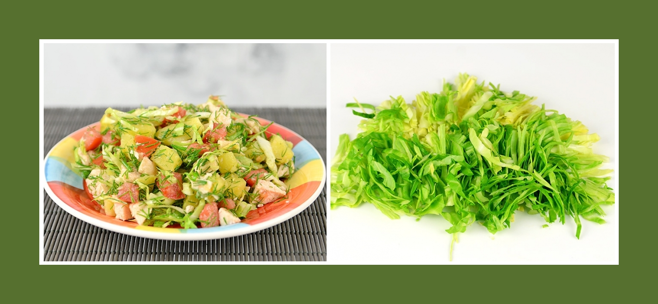 Kartoffelsalat mit Frühkraut oder jungem Kohl