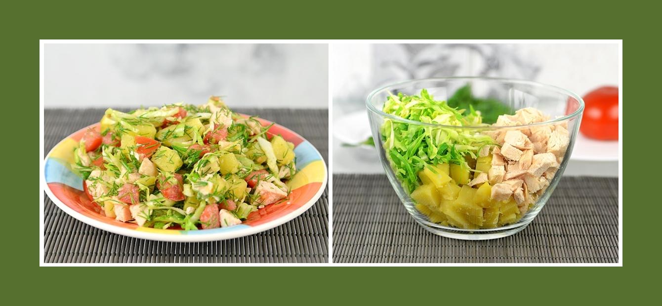 Salat mit Weißkohl Frühkraut, Hähnchen und Kartoffeln