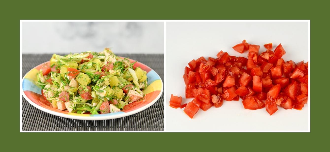 Kartoffelsalat Fleischsalat mit Tomaten