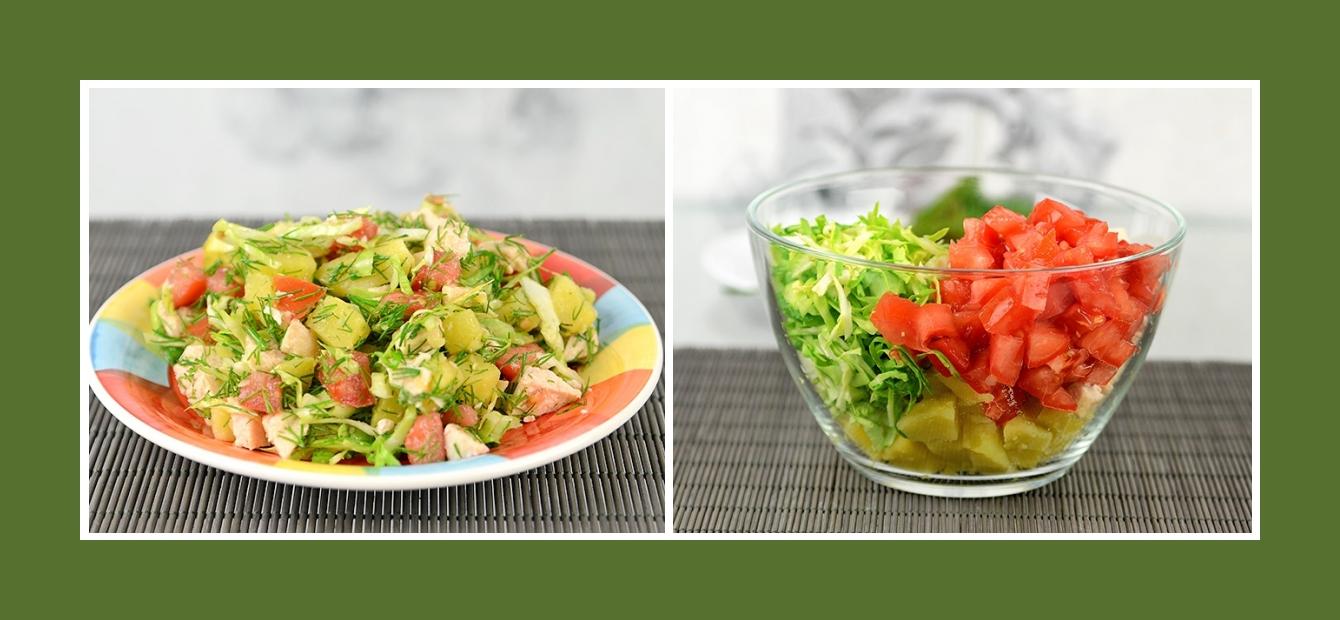 Salat mit Kartoffeln, Tomaten, Frühkraut und Hähnchen