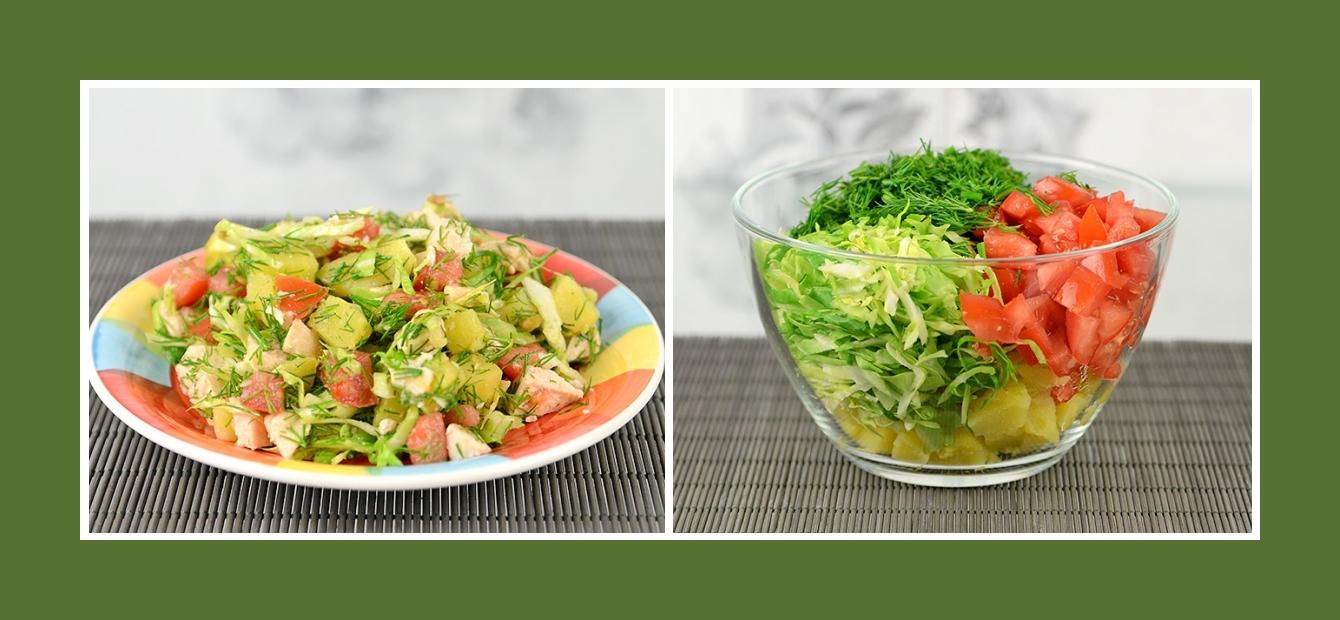 Kartoffelsalat Fleischsalat mit Tomaten, Dill, Weißkohl