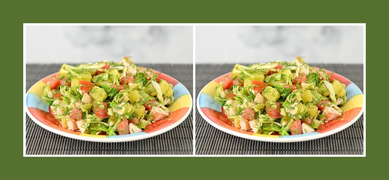 Gesunder Gemüsesalat mit Fleisch