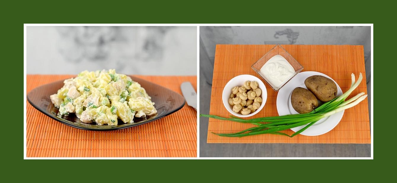 Einfacher Kartoffelsalat mit Champignons, Schnittlauch und Schmand