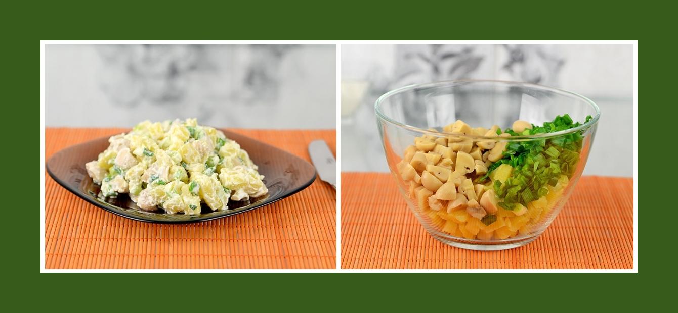 Salat mit marinierten Chamoignons, Kartoffeln, Schnittlauch