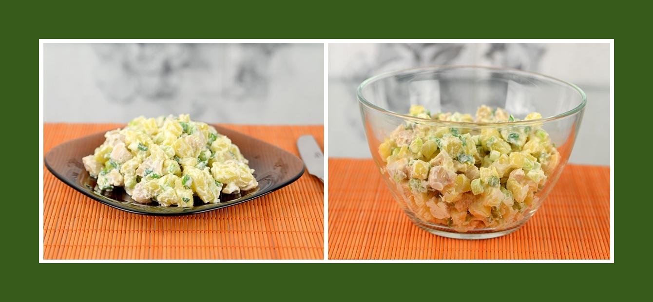 Kartoffelsalat mit marinierten Champignons mit Schmand Dressing