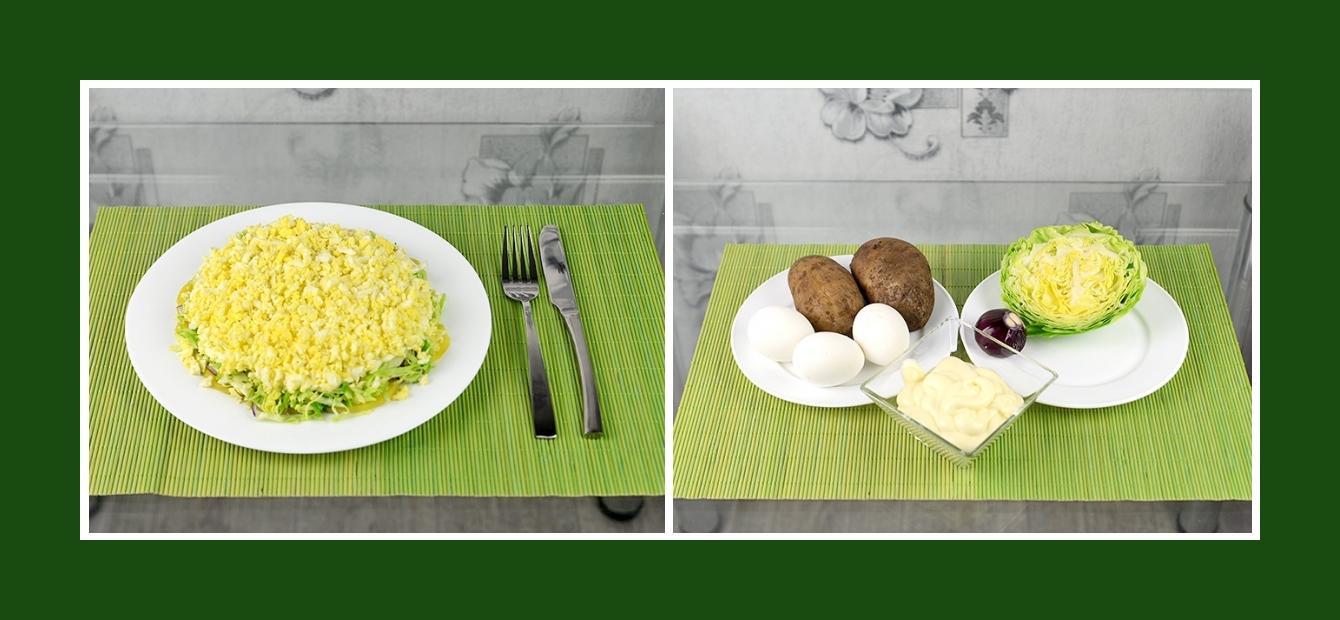 Schichtsalat mit Kohl, roten Zwiebeln, Eiern, Kartoffeln und Joghurt