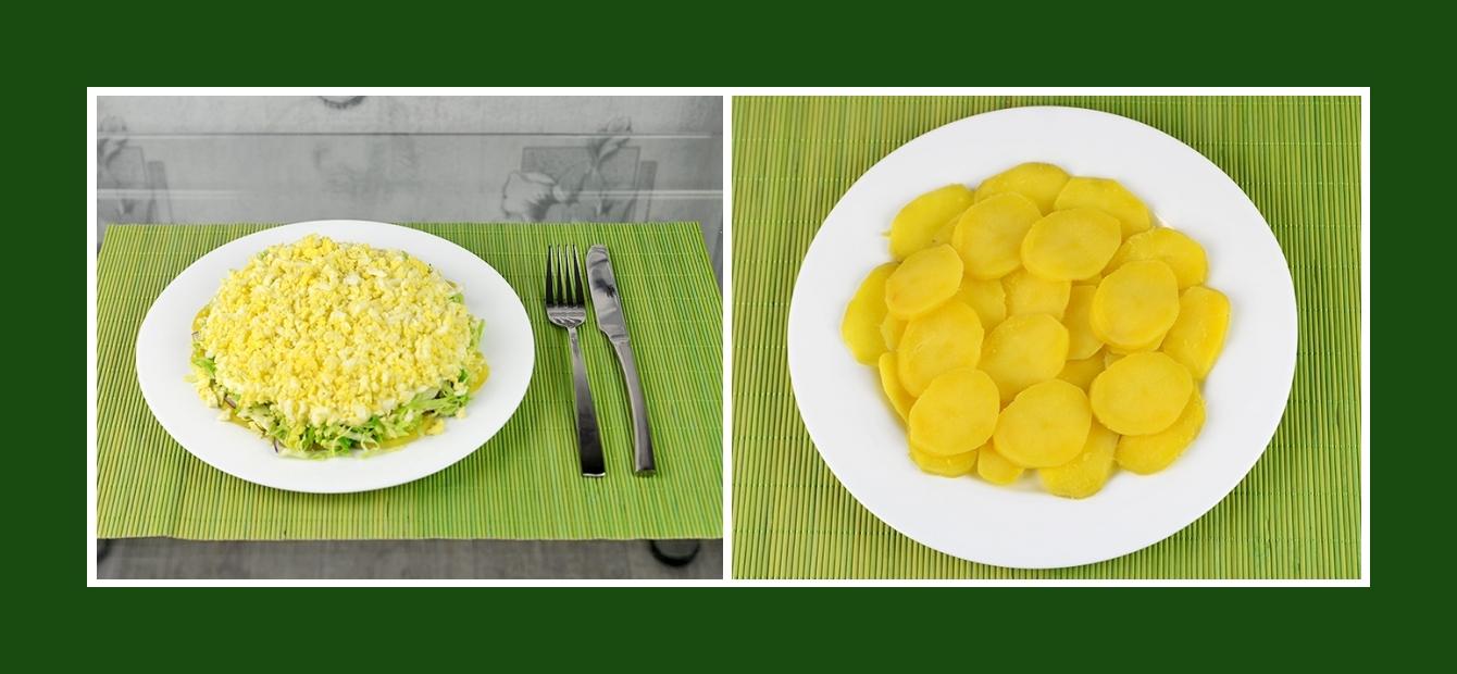 Schichtsalat mit gekochten Kartoffeln in Scheiben