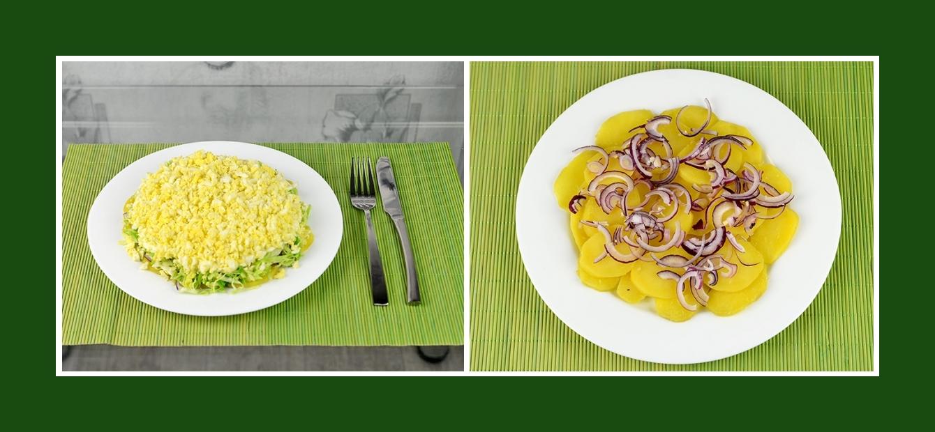 Schichtsalat mit Rotzwiebeln und Kartoffeln