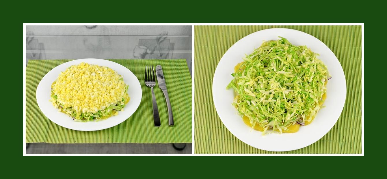 Schichtsalat mit Weißkohl, Zwiebeln und Kartoffeln