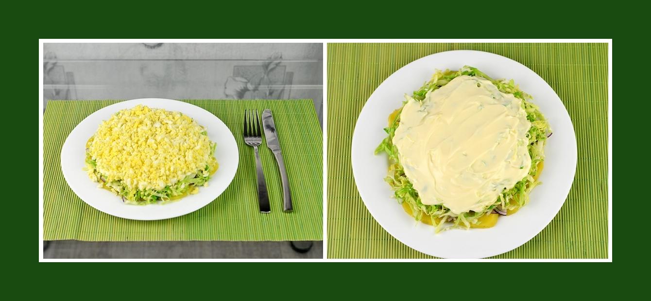 Frühlingssalat mit Schichten und Dressing aus Mayonnaise oder Joghurt