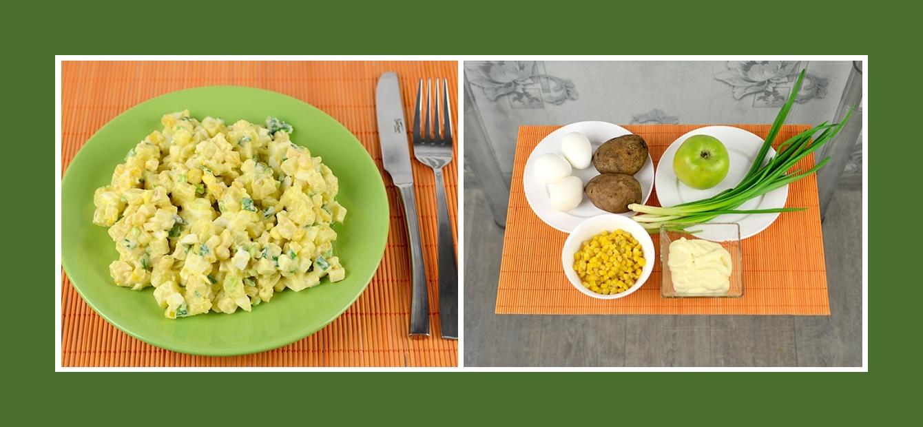 Erfrischender Kartoffelsalat mit Äpfeln, Mais, Eiern, Schnittlauch und Mayonnaise