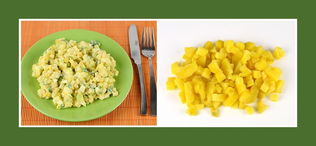 Salat mit Äpfeln und Kochkartoffeln
