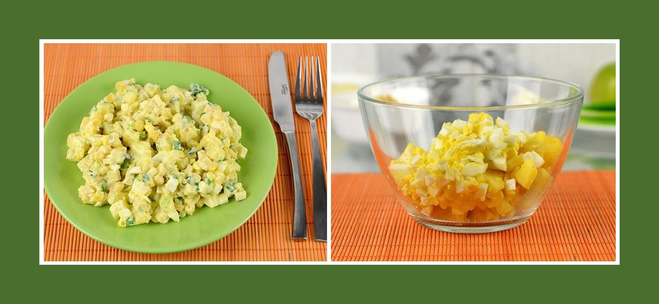Leckerer und sättigender Salat mit Kartoffeln und Eiern