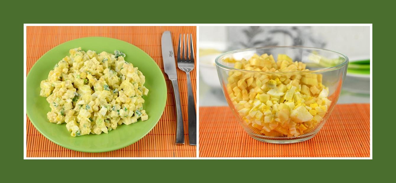 Salat mit Kartoffeln, Eiern und Äpfeln
