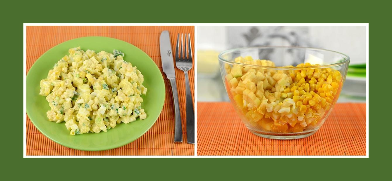 Salat mit Kartoffeln, Mais, Eiern und Äpfeln