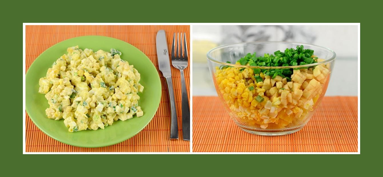 Kartoffelsalat mit Äpfeln, Mais, Eiern und Schnittlauch