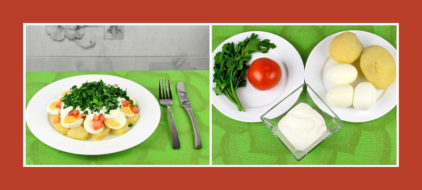 Nahrhafter Kartoffelsalat mit Eiern, Tomate und Petersilie