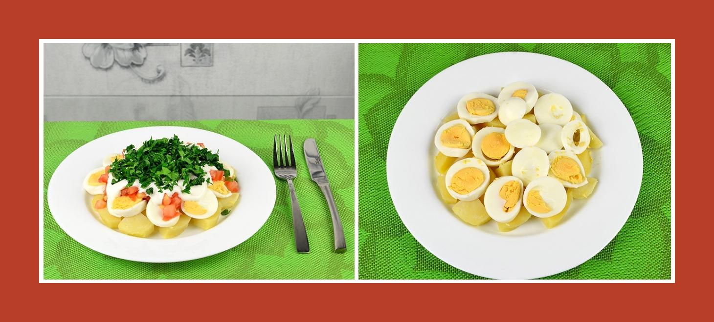 Schichtsalat mit Eiern und Kartoffeln