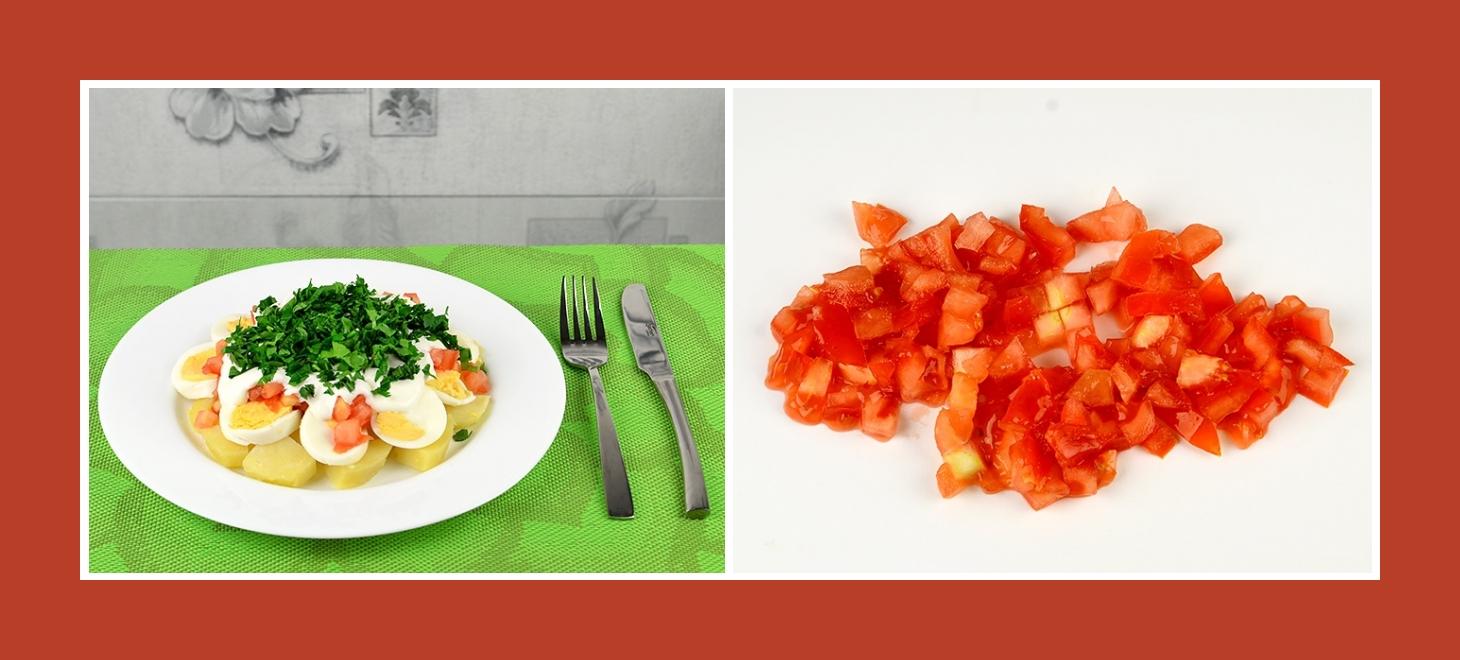 Kartoffelsalat mit frischen Tomaten