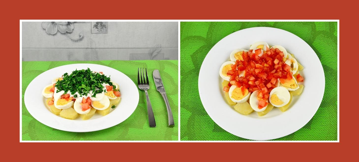 Schichtsalat mit Kartoffeln, Eiern und Tomaten