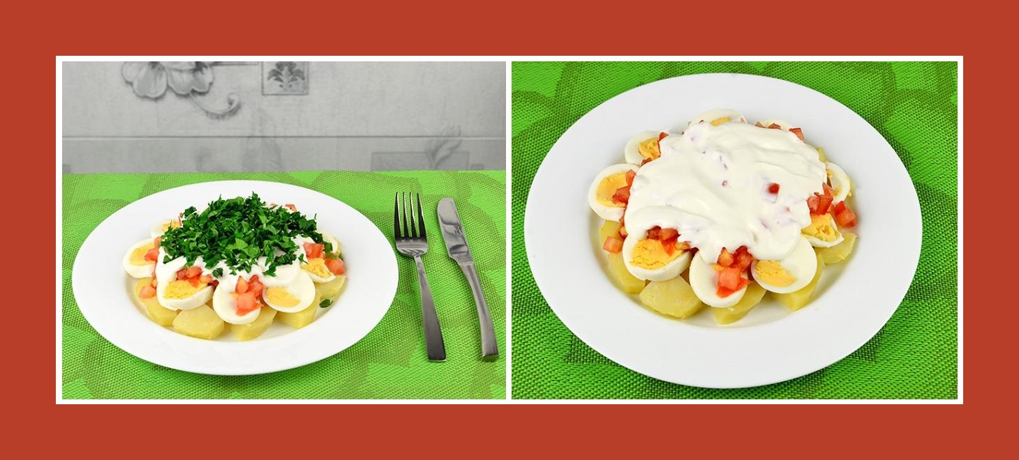 Kartoffesalat mit Eiern, Tomaten und zartem Schmand-Dressing
