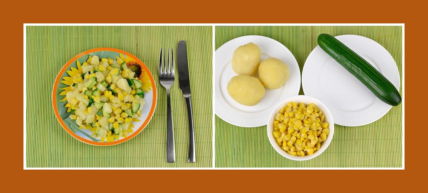 Einfacher Salat aus Kochkartoffeln, frischen Gurken und süßem Mais aus der Dose