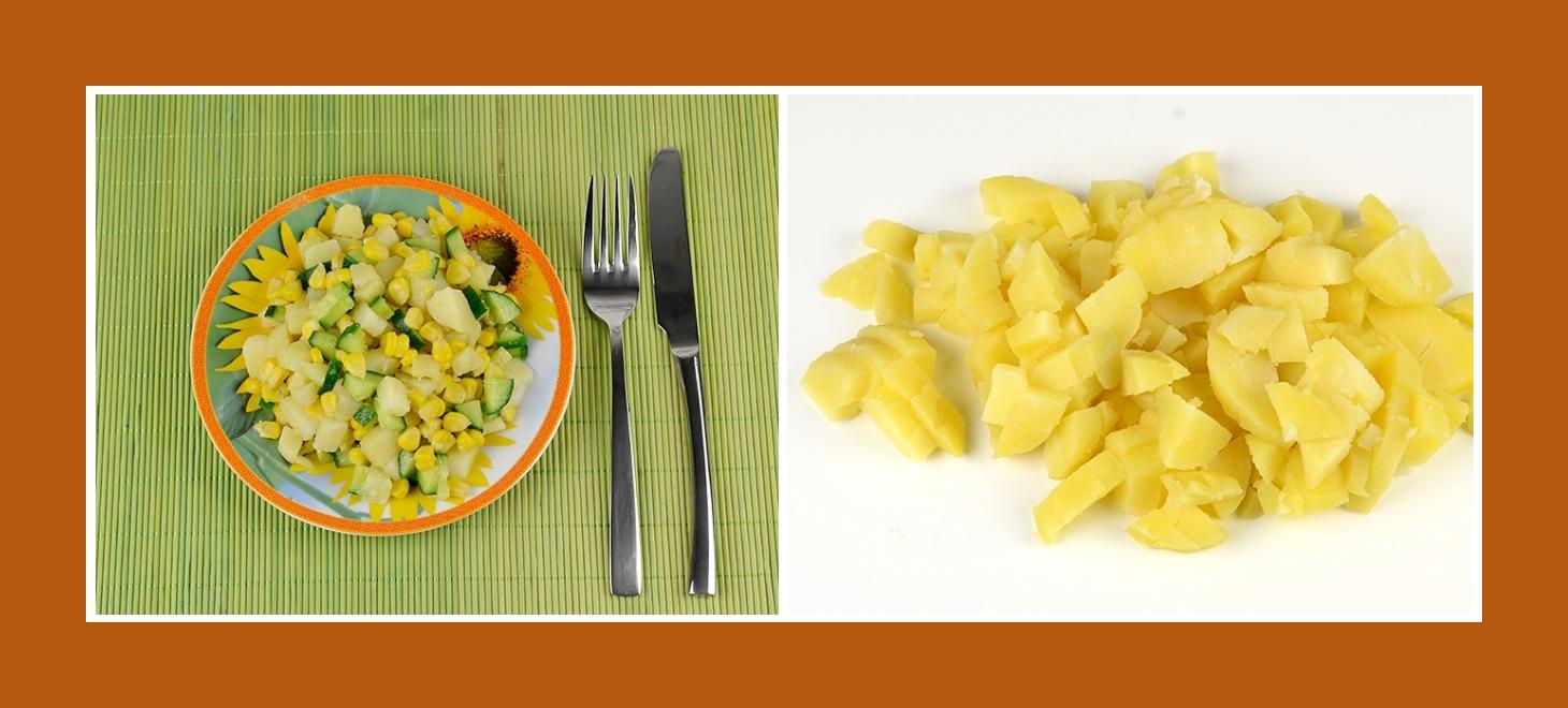Einfacher Salat mit gekochten Kartoffeln