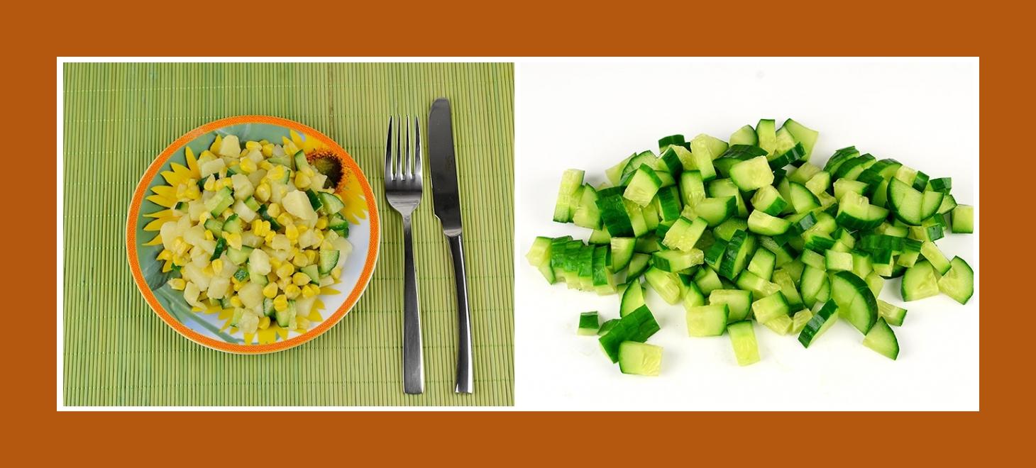 Einfacher Kartoffelsalat mit knusprigen Gurken